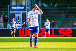 Uppsala 2014-06-26 Fotboll Superettan IK Sirius - IFK V&auml;rnamo :  <br /> V&auml;rnamos Oskar Johansson deppar<br /> (Foto: Kenta J&ouml;nsson) Nyckelord:  Superettan Sirius IKS Studenternas IFK V&auml;rnamo depp besviken besvikelse sorg ledsen deppig nedst&auml;md uppgiven sad disappointment disappointed dejected