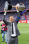 FC Barcelona's coach Luis Enrique Martinez with the trophy after Copa del Rey (King's Cup) Final between Deportivo Alaves and FC Barcelona at Vicente Calderon Stadium in Madrid, May 27, 2017. Spain.<br /> (ALTERPHOTOS/BorjaB.Hojas)