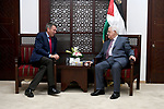 Palestinian President Mahmud Abbas meets with The head of the International Committee of the Red Cross, Peter Maurer, in the West Bank city of Ramallah on September 5, 2017. Photo by Osama Falah