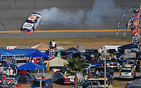 Feb 7, 2009; Daytona Beach, FL, USA; ARCA RE/MAX Series driver Peyton Sellers spins during the Lucas Oil Slick Mist 200 at Daytona International Speedway. Mandatory Credit: Mark J. Rebilas-