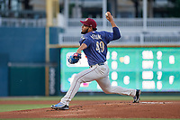 Frisco RoughRiders pitcher Jefferson Medina (49) during a Texas League game against the Springfield Cardinals on May 7, 2019 at Dr Pepper Ballpark in Frisco, Texas.  (Mike Augustin/Four Seam Images)