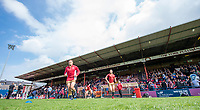 Picture by Allan McKenzie/SWpix.com - 22/04/2018 - Rugby League - Ladbrokes Challenge Cup - York City Knight v Catalans Dragons - Bootham Crescent, York, England - Catalans come out to warm up.