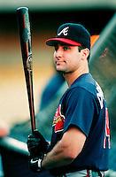 Tony Graffanino of the Atlanta Braves during a game at Dodger Stadium in Los Angeles, California during the 1997 season.(Larry Goren/Four Seam Images)