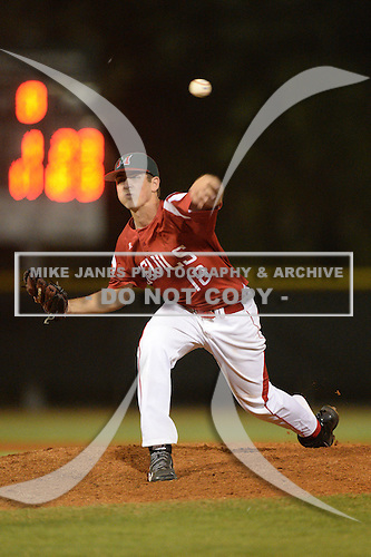 Mississippi Valley State Delta Devils pitcher Jacob Reifers (18) during a game against the Ball State Cardinals on February 21, 2014 at North Charlotte Regional Park in Port Charlotte, Florida.  Ball State defeated Mississippi Valley 12-1.  (Copyright Mike Janes Photography)