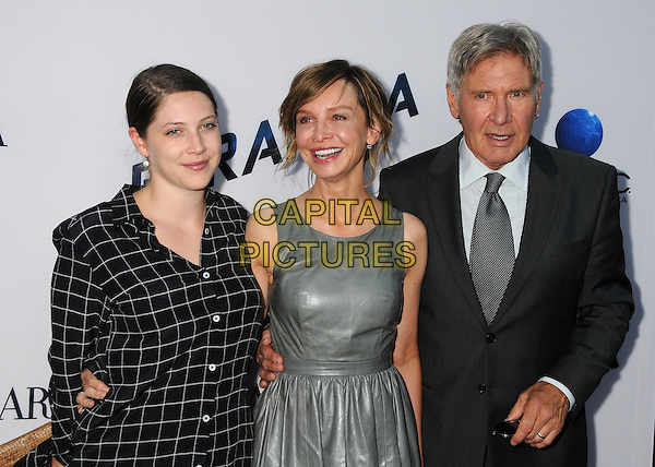 Georgia Ford, Calista Flockhart, Harrison Ford<br /> &quot;Paranoia&quot; Los Angeles Premiere held at the Directors Guild of America, West Hollywood, California, USA, 8th August 2013.<br /> half length silver grey gray leather dress suit black checked plaid tie couple husband wife family <br /> CAP/ADM/BP<br /> &copy;Byron Purvis/AdMedia/Capital Pictures