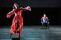 London, UK. 27.02.2014. Candoco Dance Company present a new<br /> Triple Bill, featuring the world premiere of Notturnino by Brussels-based Swiss choreographer Thomas Hauert, at Laban Dance Conservatoire. The company comprises: Annie Hanauer, Kostas Papamatthaiakis, Susanna Recchia, Rick Rodgers, Tanja Erhart, Andrew Graham and Mirjam Gurtner. Picture shows: Annie Hanauer and Rick Rodgers. Photograph &copy; Jane Hobson.