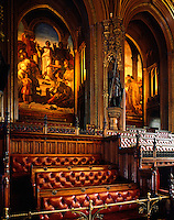 The Strangers' Gallery at the Bar end of the Chamber, showing Daniel Maclise's The Spirit of Justice