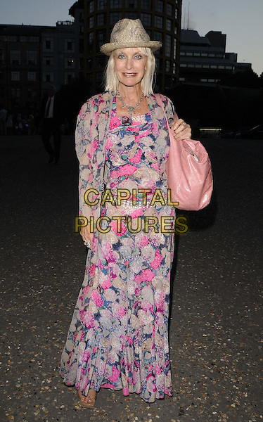 Virginia Bates.The Warner Music Group Olympics 2012 Party, Tate Modern Gallery, Bankside, London, England..July 26th, 2012.full length blue beige pink floral print dress straw hat bag purse .CAP/CAN.©Can Nguyen/Capital Pictures.