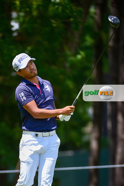 Satoshi Kodaira (JPN) watches his tee shot on 5 during Thursday's round 1 of the PGA Championship at the Quail Hollow Club in Charlotte, North Carolina. 8/10/2017.<br /> Picture: Golffile | Ken Murray<br /> <br /> <br /> All photo usage must carry mandatory copyright credit (&copy; Golffile | Ken Murray)