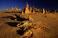 Nambung National Park is home to the Pinnacles Desert, a series of eerie limestone formations sporadically scattered over vast yellow, rippled sand dunes. Just 245km or three hours drive from the center of Perth city, the Pinnacles make for a comfortable day trip where visitors can walk amongst these spooky stones and visit the nearby fishing village of Cervantes.
