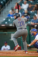 Lehigh Valley IronPigs first baseman Darin Ruf (28) at bat during a game against the Buffalo Bisons on August 29, 2016 at Coca-Cola Field in Buffalo, New York.  Buffalo defeated Lehigh Valley 3-2.  (Mike Janes/Four Seam Images)