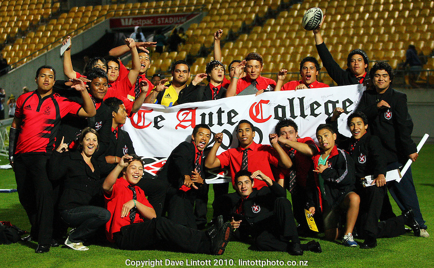 Hurricanes halfback Piri Weepu poses with year 12 and 13 students from his old school, Te Aute College, after the match during the Super 14 rugby match between the Hurricanes and Lions at Westpac Stadium, Wellington, New Zealand on Saturday, 27 February 2010. Photo: Dave Lintott / lintottphoto.co.nz