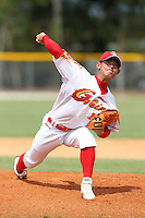 China National Team pitcher Liu Yu #16 during an Instructional League game against the Detroit Tigers at Vero Beach Sports Complex on September 29, 2011 in Vero Beach, Florida.  (Mike Janes/Four Seam Images)