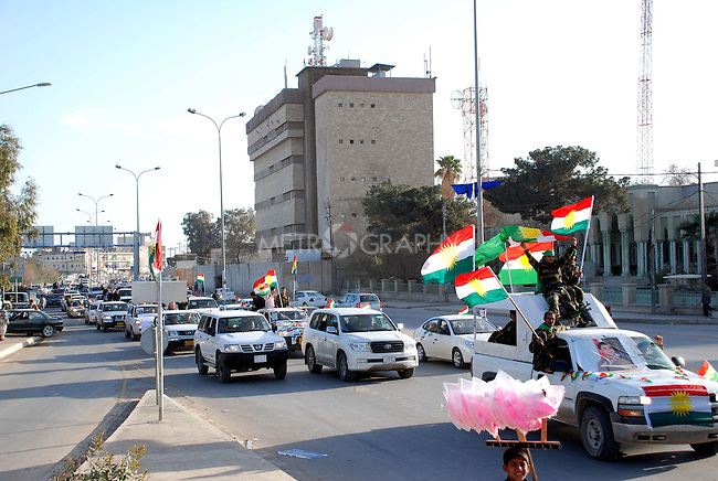 KIRKUK, IRAQ; Kurdistan Alliance List start their electoral campiagn on the streets in Kirkuk,  on February 12th,2010 the first day of Electoral campaigns. on February 12th,2010 the first day of Electoral campaigns...Election workers start their campaigns for the Iraqi Parliamentary Elections due to be held March 7th, 2010....Photo by Hawre Khalid/ Metrography
