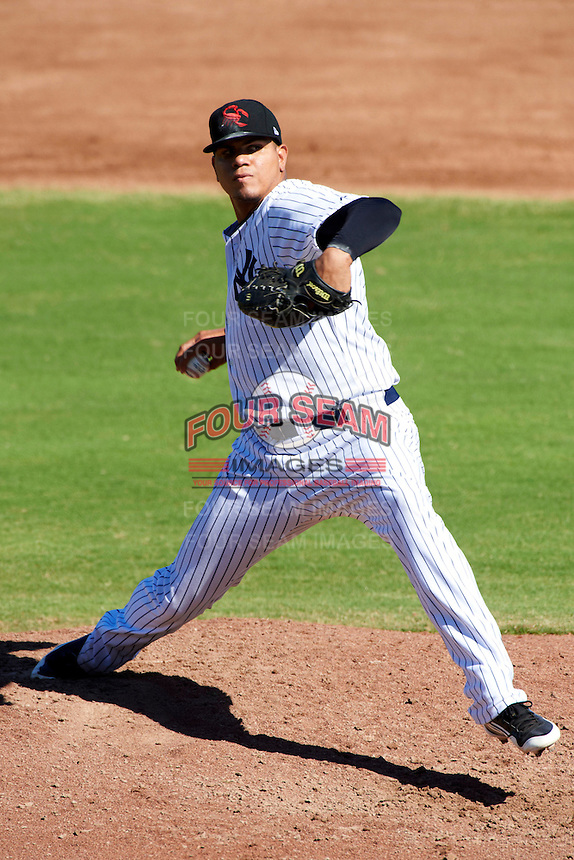Scottsdale Scorpions pitcher Dellin Betances #53, of the New York Yankees organization, during an Arizona Fall League game against the Surprise Saguaros at Scottsdale Stadium on October 16, 2012 in Scottsdale, Arizona.  Surprise defeated Scottsdale 11-3.  (Mike Janes/Four Seam Images)