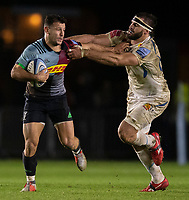 Harlequins' Danny Care evades the tackle of Exeter Chiefs' Don Armand<br /> <br /> Photographer Bob Bradford/CameraSport<br /> <br /> Gallagher Premiership Round 9 - Harlequins v Exeter Chiefs - Friday 30th November 2018 - Twickenham Stoop - London<br /> <br /> World Copyright &copy; 2018 CameraSport. All rights reserved. 43 Linden Ave. Countesthorpe. Leicester. England. LE8 5PG - Tel: +44 (0) 116 277 4147 - admin@camerasport.com - www.camerasport.com