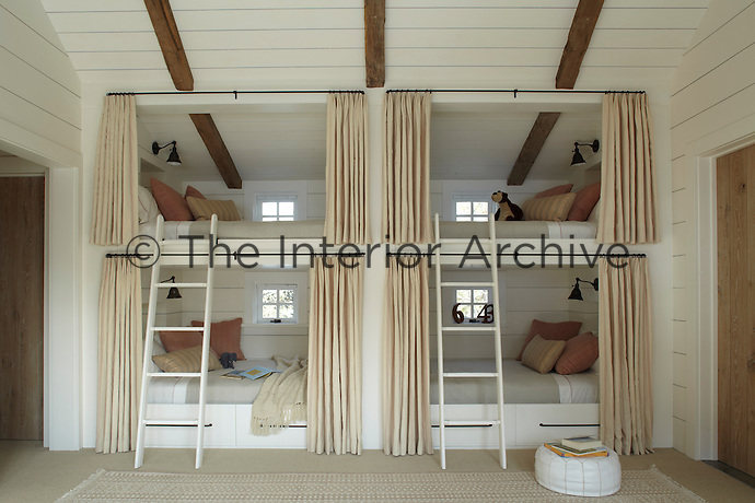 Double-decker bunk beds dominate one wall of the children's room