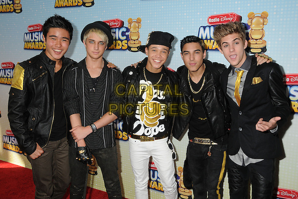 Will Behlendorf, Dalton Rapattoni, Dana Vaughns, Gabriel Morales, Cole Pendery, IM5.At the Radio Disney Music Awards 2013 held at Nokia Theatre LA Live, Los Angeles, California, USA, .27th April 2013..half length black hat jacket suit .CAP/ADM/BP.©Byron Purvis/AdMedia/Capital Pictures
