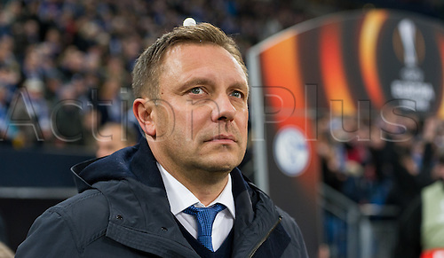25.02.2016. Gelsenkirchen, Germany.  Schalke's coach Andre Breitenreiter at the Europa League Round of 32 Second Leg soccer match between Schalke 04 and FC Shakhtar Donetsk in the Veltins Arena in Gelsenkirchen, Germany, 25 February 2016.