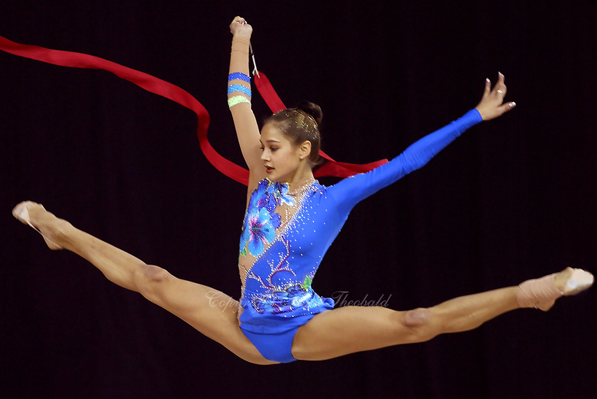 September 23, 2003; Budapest, Hungary; Rhythmic gymnastic star IRINA TCHACHINA of Russia performs with ribbon during training for 2003 World Championships held Sept 24-28th at Budapest Arena.