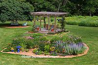 63821-20009 Backyard with island flower beds, gazebo, blue bird bath, chairs, Marion Co., IL