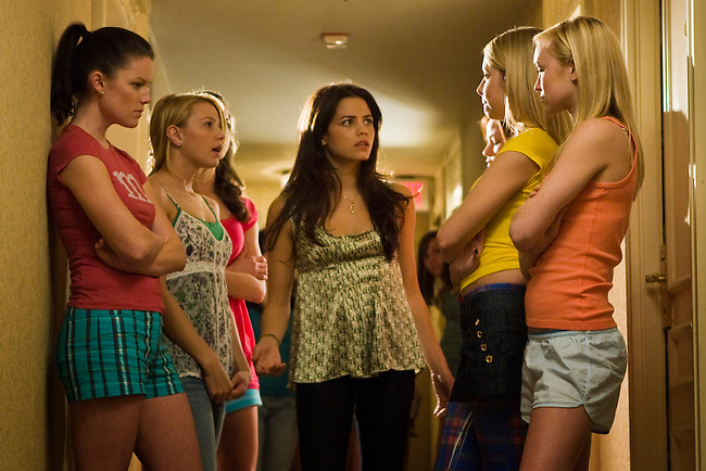 Cheerleading coach Emma Carr steps in to break up a fight between the Fab Five in the Lifetime Original Movie 'Fab Five: The Texas Cheerleader Scandal.'