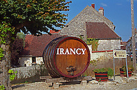 In the northern Burgundy wine village Irancy (Bourgogne), a big oak vat with the name painted on it