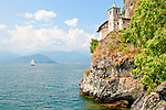 The Hermitage of Santa Caterina del Sasso, a church and  two convents that date back to the 12th and 15th centuries, on the side of the mountain overlooking Lake Maggiore, Italy