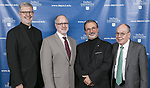 The Rev. Dennis H. Holtschneider, C.M., president of DePaul University, with Ronald Catalbiano, dean of the School of Music, Guillermo Vásquez de Velasco, dean of the College of Liberal Arts and Social Sciences and William Bennett, outgoing chair of the board of trustees. The DePaul University board of trustees announced on Thursday, May 18, 2017, the naming of the Holtschneider Center for Music and Performance as well as the creation of the Holtschneider Chair of Vincentian Studies, both honoring Fr. Holtschneider's 13-year tenure as the university's 11th president. (DePaul University/Jamie Moncrief)