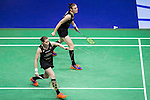 Kamilla Rytter Juhl and Christinna Pedersen of Denmark compete against Huang Dongping and Li Yinhui of China during their Women's Doubles Final of YONEX-SUNRISE Hong Kong Open Badminton Championships 2016 at the Hong Kong Coliseum on 27 November 2016 in Hong Kong, China. Photo by Marcio Rodrigo Machado / Power Sport Images