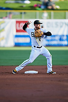 Nolan Fontana (4) of the Salt Lake Bees on defense against the El Paso Chihuahuas in Pacific Coast League action at Smith's Ballpark on May 1, 2017 in Salt Lake City, Utah. Salt Lake defeated El Paso 9-4.  (Stephen Smith/Four Seam Images)