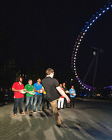 Andrew Mehrtens (New Zealand) kicks the ball towards the The London Eye to launch the Rugby World Cup England 2015 in front of Adam Jones (Wales), Gordon D'Arcy (Ireland), Marco Bortolami (Italy), Jason Robinson (England), James Horwill (Australia), Masaaki Sakata (Japan), Bob Skinstad (South Africa), Gonzalo Camacho (Argentina) - 15/09/2015 - London Eye - London <br /> Mandatory Credit: Rob Munro/Stewart Communications