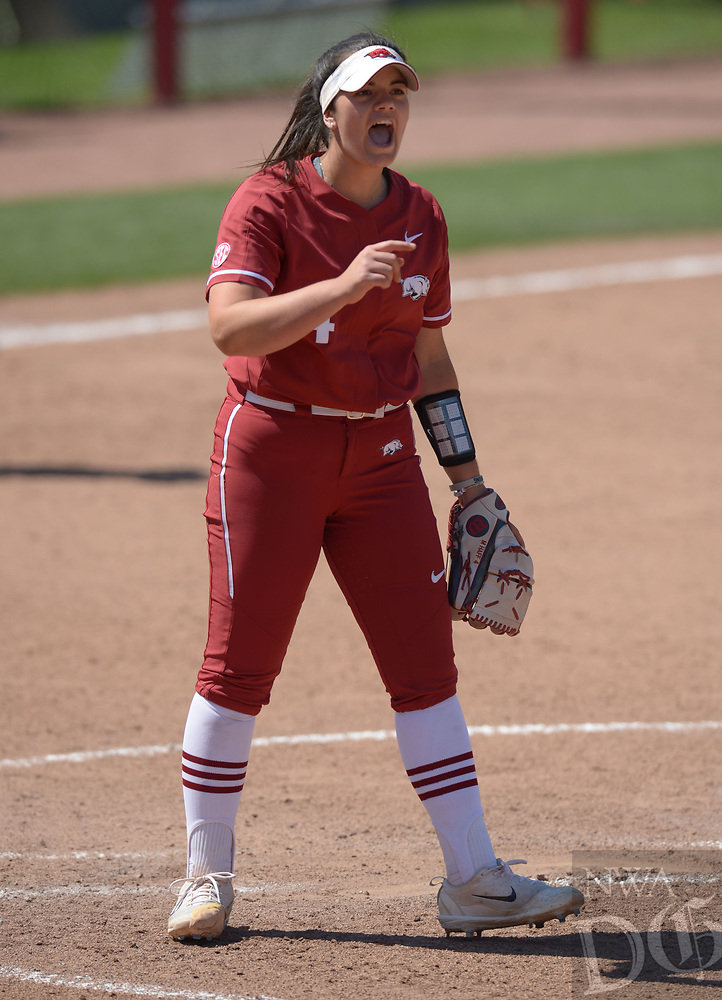 NWA Democrat-Gazette/ANDY SHUPE<br />Arkansas starter Mary Haff celebrates an out Saturday, May 19, 2018, during the seventh inning against Wichita State at Bogle Park during the NCAA Fayetteville Softball Regional on the university campus in Fayetteville. Visit nwadg.com/photos to see more photographs from the game.