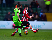 Lincoln City's Tom Pett vies for possession with  Forest Green Rovers' Lloyd James<br /> <br /> Photographer Andrew Vaughan/CameraSport<br /> <br /> The EFL Sky Bet League Two - Lincoln City v Forest Green Rovers - Saturday 3rd November 2018 - Sincil Bank - Lincoln<br /> <br /> World Copyright &copy; 2018 CameraSport. All rights reserved. 43 Linden Ave. Countesthorpe. Leicester. England. LE8 5PG - Tel: +44 (0) 116 277 4147 - admin@camerasport.com - www.camerasport.com