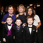 Cast members making their Broadway debut: Elliott Mattox, Amy Quanbeck, Yesenia Ayala, Ryan Sell, Ryan Foust and Jake Ryan Flynn during the Actors' Equity Gypsy Robe Ceremony honoring Katie Webber for  'Charlie and the Chocolate Factory' at the Lunt-Fontanne Theatre on April 23, 2017 in New York City.