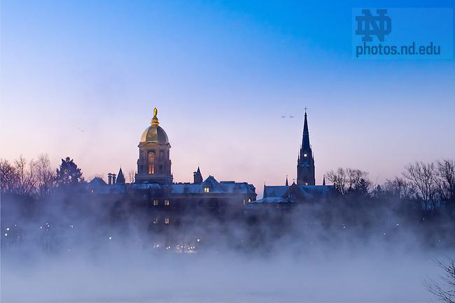 January 6, 2017; Mist on St. Joseph Lake at sunrise (Photo by Matt Cashore/University of Notre Dame)
