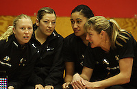 NZ's Laura Langman, Anna Thompson, Maria Tutaia and Irene Van Dyk before the match during the International  Netball Series match between the NZ Silver Ferns and World 7 at TSB Bank Arena, Wellington, New Zealand on Monday, 24 August 2009. Photo: Dave Lintott / lintottphoto.co.nz