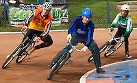 13 SEP 2014 - IPSWICH, GBR - Daniel Zagni (centre) of Kesgrave Panthers leads Ben Mould (left) of Wednesfield Aces and Robert Croal (right) from Exeter Aces round a bend during the first semi final of the 2014 British Open Club Championships at Whitton, Ipswich in Great Britain (PHOTO COPYRIGHT © 2014 NIGEL FARROW, ALL RIGHTS RESERVED)