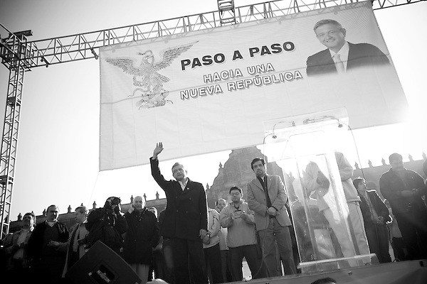 Friday December 1st, 2006,  Mexico City, Mexico.&#xA; Former presidential candidate, and self declared president elect, Manuel Lopez Obrador held a rally in the zocalo of Mexico City on the morning of the official inauguration of Felipe Calderon to reaffirm his claims of electoral fraud and for a show of strength to his thousands of supporters.<br />