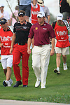 Ian Poulter and Lee Westwood walking off the first tee on.day one of the Abu Dhabi HSBC Golf Championship 2011, at the Abu Dhabi golf club 20/1/11..Picture Fran Caffrey/www.golffile.ie.