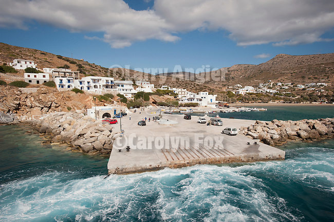 A quick stop at the port of Kamares, Sifnos, Kyclades, Greece, aboard the ferry boat NEL Lines Aqua Jewel as we make a stop at the ferry dock