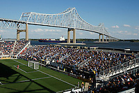 A ship passes under the Commodore Barry Bridge. The Philadelphia Union and the Kansas City Wizards played to a 1-1 tie during a Major League Soccer (MLS) match at PPL Park in Chester, PA, on September 04, 2010.