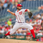 21 May 2014: Washington Nationals starting pitcher Tanner Roark on the mound against the Cincinnati Reds at Nationals Park in Washington, DC. The Reds edged out the Nationals 2-1 to take the rubber match of their 3-game series. Mandatory Credit: Ed Wolfstein Photo *** RAW (NEF) Image File Available ***