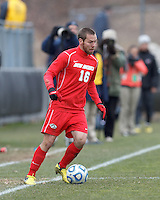 University of New Mexico midfielder Levi Rossi (16) controls the ball..NCAA Tournament. With a goal in the second overtime, University of Connecticut (white) defeated University of New Mexico (red), 2-1, at Morrone Stadium at University of Connecticut on November 25, 2012.