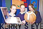 WILL IT FALL: Annemarie Francis, Denise Buckley and Michelle Doyle from St. Joseph's Secondary School, Ballybunion with their project Falling Objects at the ITT SciFest.