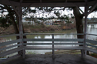 Gazebo Overlooking River, Snohomish, Washington, US