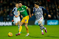 25th February 2020; The Hawthorns, West Bromwich, West Midlands, England; English Championship Football, West Bromwich Albion versus Preston North End; Alan Browne of Preston North End under pressure from Filip Krovinovic of West Bromwich Albion