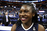 11 March 2016: Notre Dame cheerleader. The University of North Carolina Tar Heels played the University of Notre Dame Fighting Irish at the Verizon Center in Washington, DC in the Atlantic Coast Conference Men's Basketball Tournament semifinal and a 2015-16 NCAA Division I Men's Basketball game. UNC won the game 78-47.