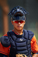 Houston Astros Gabriel Bracamonte (12) during practice before a minor league Spring Training game against the Detroit Tigers on March 30, 2016 at Tigertown in Lakeland, Florida.  (Mike Janes/Four Seam Images)