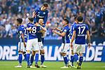 15.04.2018, VELTINS Arena, Gelsenkirchen, Deutschland, GER, 1. FBL, FC Schalke 04 vs. Borussia Dortmund, im Bild Jubel Weston McKennie (#2 Schalke), Daniel Caligiuri (#18 Schalke), Guido Burgstaller (#19 Schalke), Leon Goretzka (#8 Schalke), Alessandro Sch&ouml;pf / Schoepf (#28 Schalke), Benjamin Stambouli (#17 Schalke) nach Sieg<br /> <br /> Foto &copy; nordphoto / Kurth